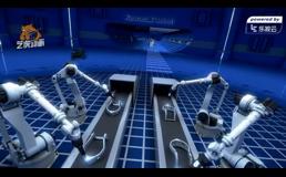 机器人组装摩托车三维工业动画